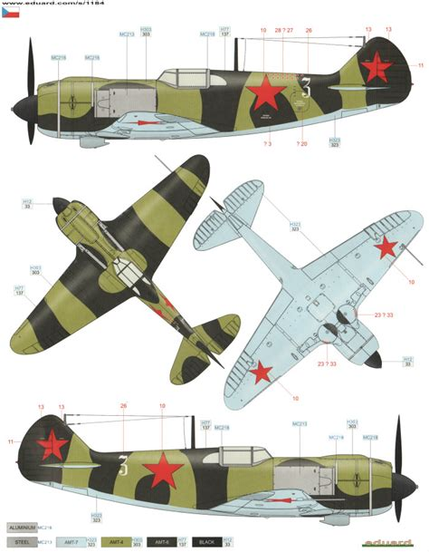 Amig7422 Wwii Soviet Airplanes Green Black Camouflages lavochkin la 5 standard camouflage color profile and paint guide