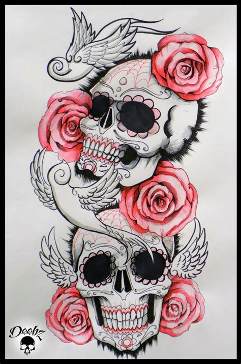 candy sleeve tattoo designs skull half sleeve by deebz design on deviantart