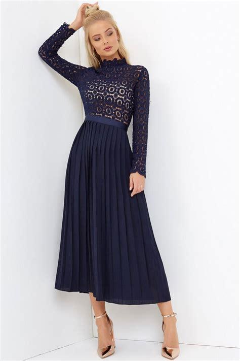 Midi Dress 130 navy crochet lace midi dress with pleats from uk