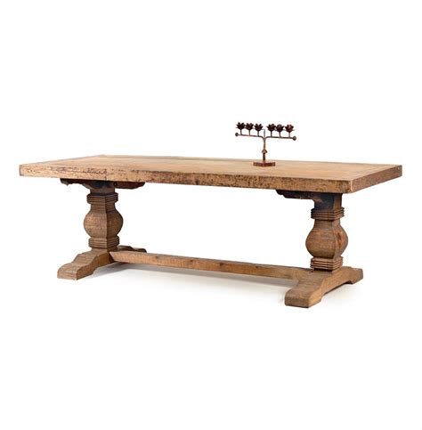 Solid Wood Dining Table Rustic Rustic Solid Teak Wood Trestle Dining Table Kathy Kuo Home