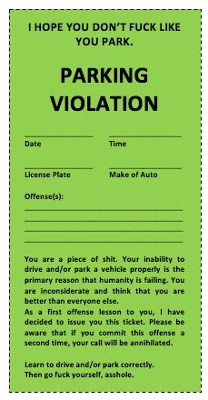 sample parking ticket template | sanjonmotel