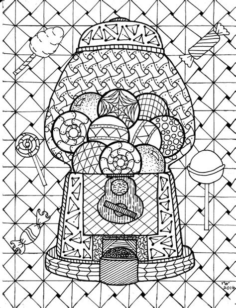zentangle coloring pages gumball machine zentangle coloring page digital coloring
