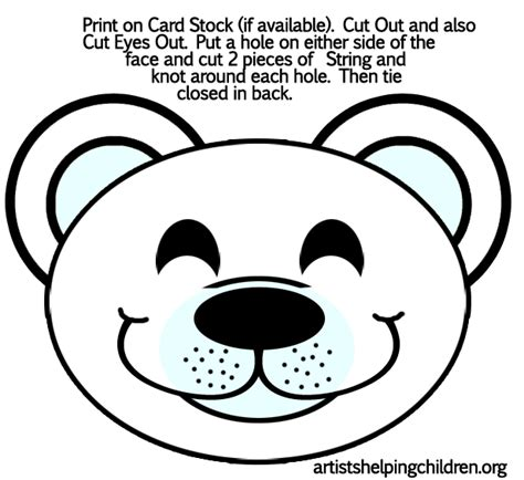 bear mask coloring page free coloring pages of polar bear mask
