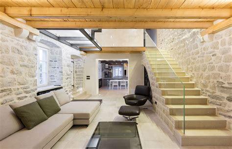 Old Kitchen Design glass balustrade stone stairs