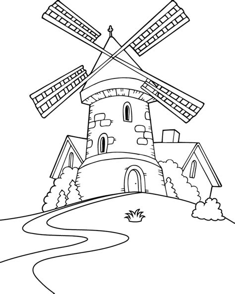 Coloriage Un Moulin Dory Fr Coloriages