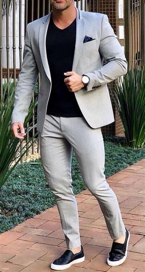 grey smart casual street men suit  wedding suit men