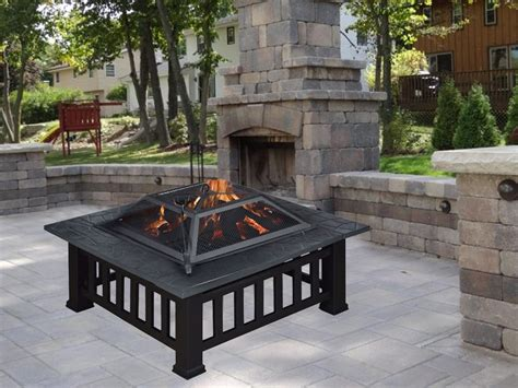 Square Firepits Square Metal 32 Quot Pit Outdoor Patio Garden Backyard Stove Firepit Brazier Ebay