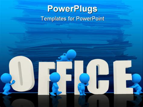 office powerpoint template 3d with word office isolated a white background