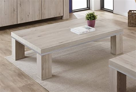 Table basse Arena Chene blanchi   alu