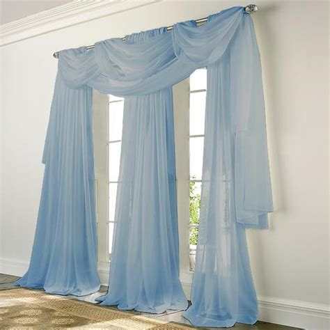 sheer blue curtains elegance voile blue sheer curtain bedbathhome com