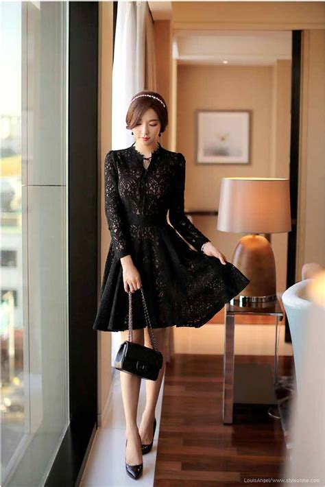 Dress Midi Mini Gaun Katun Laser Kerah Simple Santai Casual Formal gambar brokat pesta warna hitam 285k dress gambar di rebanas rebanas