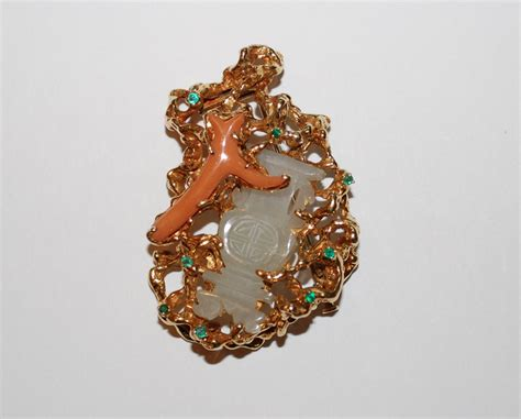 arthur king vintage gold brooch with jade coral emeralds
