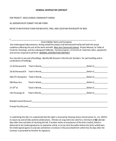general contractor contract template sle contractor contract form 7 free documents in pdf