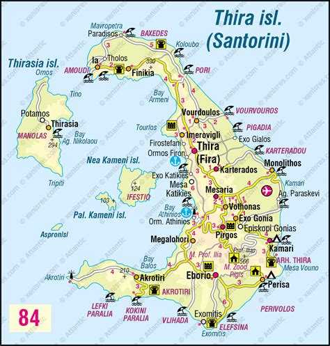 printable road map of greece thira island santorini map gr 232 ce pinterest santorini