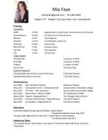examples of a dance resume 1