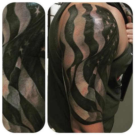 black and grey flag tattoo black and gray american flag by christina walker tattoonow