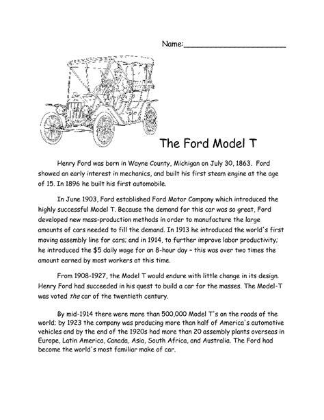 Henry Ford Assembly Line Worksheet 12 best images of henry ford worksheets henry ford