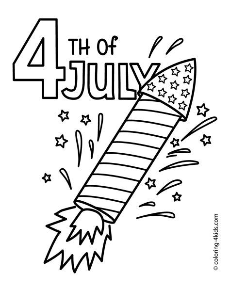 Coloring Page 4th Of July by July 4 Rocket Coloring Pages Usa Independence Day