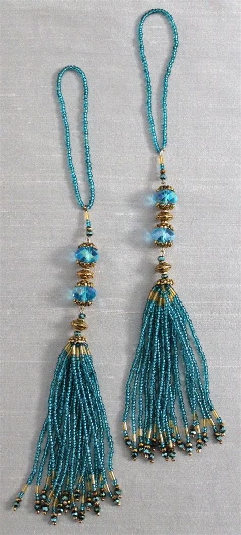 tassels for curtains beaded tassels turquoise and gold beads home d 233 cor