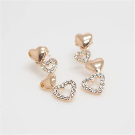 gold hearts earring earrings simple
