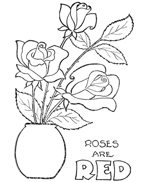 coloring pages of red roses kids coloring pages valentine day roses printable
