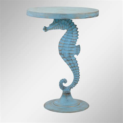 seahorse light blue coastal accent table