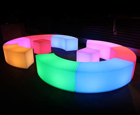 lighted bench glow bench hire sydney light up curved snake bench