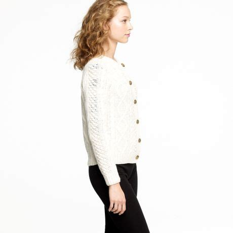 j crew cable knit cardigan j crew handknit fisherman cable knit cardigan in white