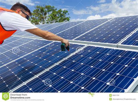 solar panel installers solar panel installation stock image image 29511791