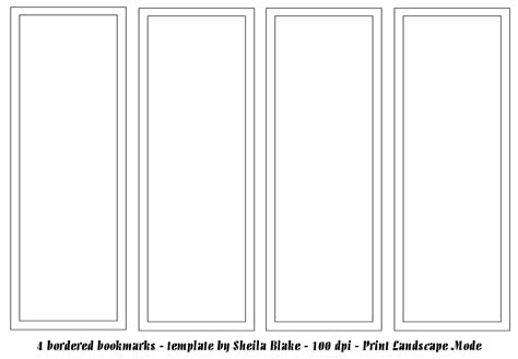 free printable bookmark templates blank calendar