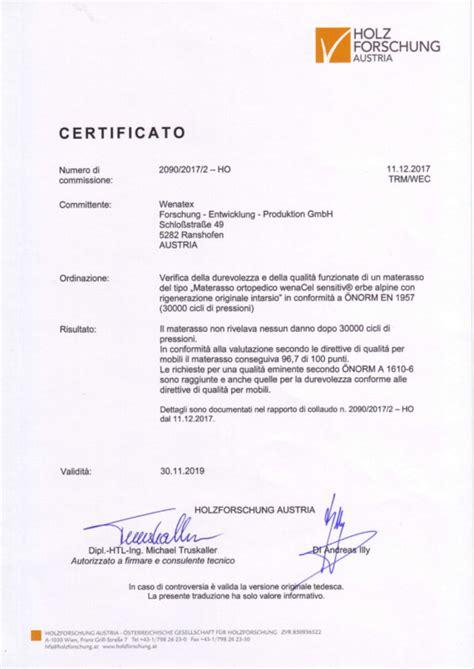 matratze qualitätsmerkmale riconoscimenti e certificati
