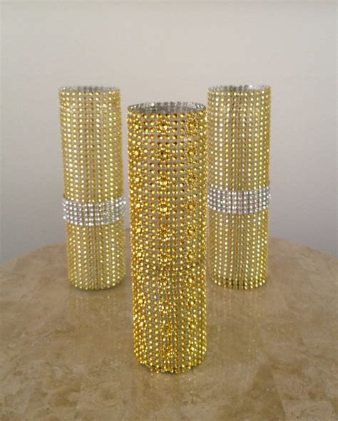 bling home decor 3 gold rhinestone bling mesh glass candle by dreamonbridal