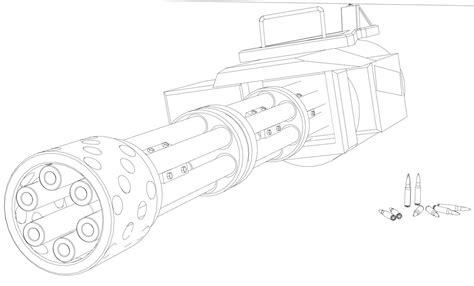 minigun coloring page drawing guns minigun sketch coloring page