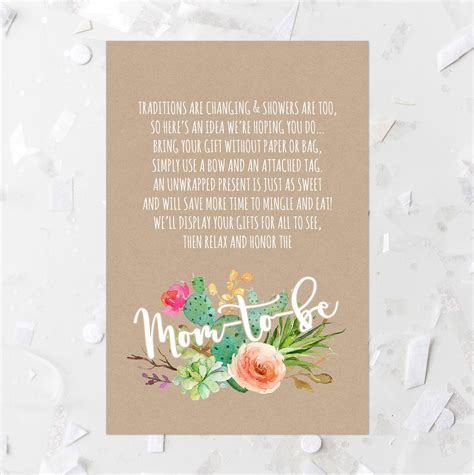 baby shower invitation wording for unwrapped gifts succulent baby shower display card printable cactus baby