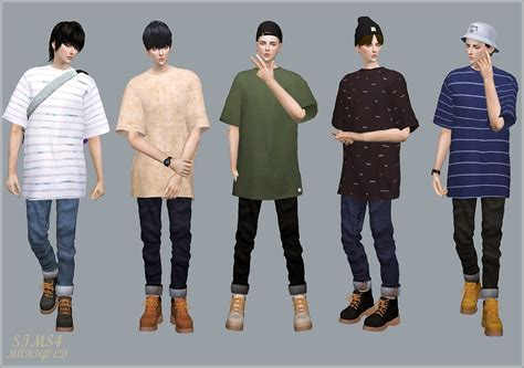 sims 4 male cc male roll up jeans 롤업 진 남자 의상 sims4 marigold