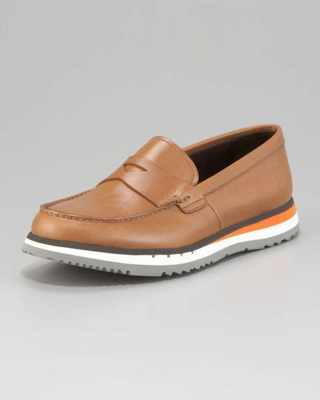 bottoms loafers prada loafer on sneaker bottom in brown lyst