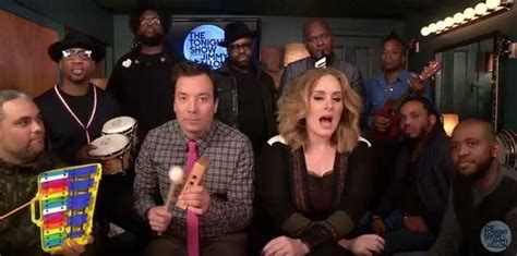jimmy fallon house band adele sings hello with classroom instruments vancouver 24 hrs