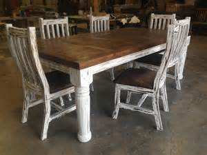 Rustic Dining Table And Chairs 6 Rustic Dining Kitchen Table And 6 Tooled Leather Chairs Ebay