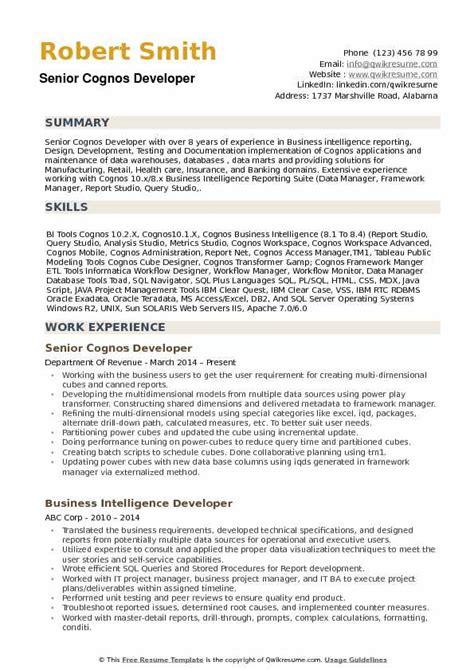 cognos developer sle resume cognos developer resume sles qwikresume