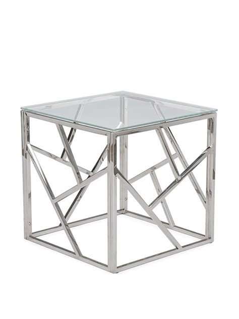 glass and chrome side table aero chrome glass side table modern furniture brickell