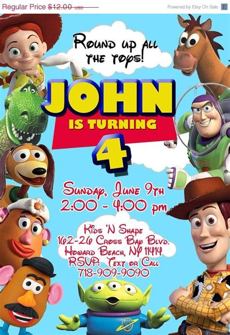 toy story birthday invitation on etsy 10 00 invites