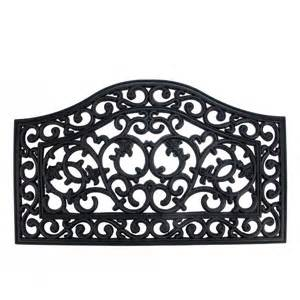 Floral Doormat Decorative Black Scroll Outdoor Rubber Door Mat 29 5 Quot X 17