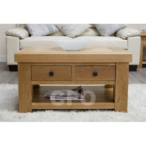 solid oak furniture storage coffee table with