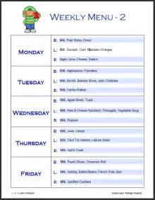 daycare menu templates 1 2 3 learn curriculum menu templates