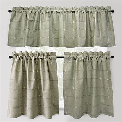 24 Inch Kitchen Curtains Buy Park B Smith Durham Square 24 Inch Kitchen Window Curtain Tier Pair In From Bed Bath