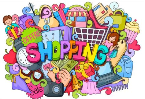 doodle shopping sale with shopping doodle vector 02 vector free