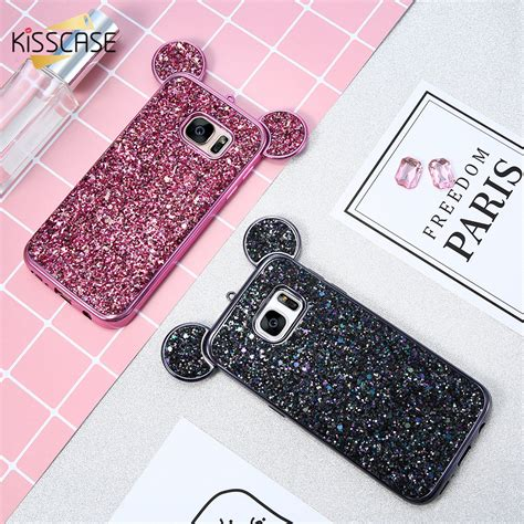 Samsung Galaxy S7 3d Mickey Mouse Ear With Stand Holder Tpu Softcase kisscase 3d mickey mouse phone cases for samsung galaxy s8 s7 edge s6 coque glitter silicon