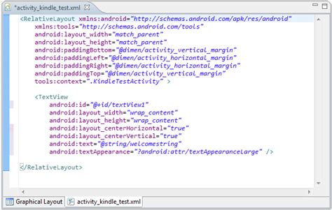 xml layout properties creating an exle kindle fire android application