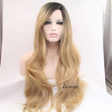 hair blonde front black back black roots heat resistant wavy synthetic lace front wigs