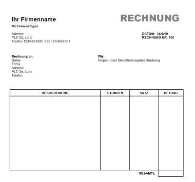 Vorlage Rechnung In Word Rechnung Vorlage Word Office Gratis